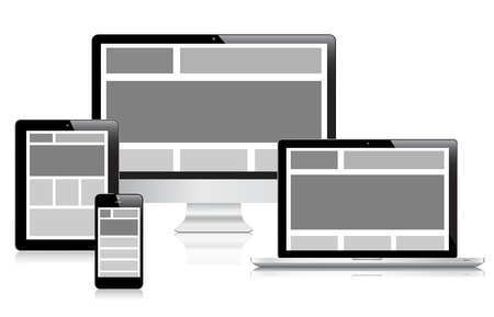 Fully responsive web design in devices  Vector