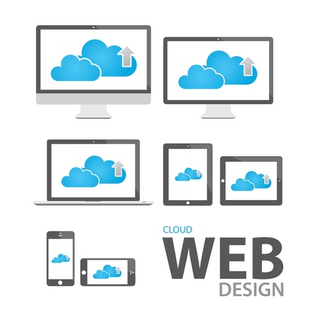 Cloud computing in electronic icon devices  Vector
