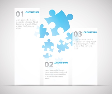Three infographic options with puzzle pieces in background