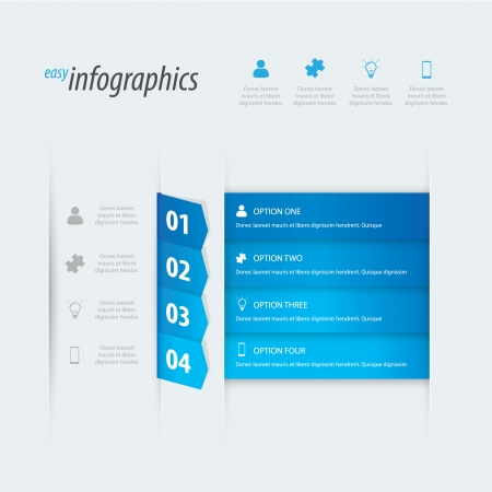 own: Four options infographics. Place your own text.
