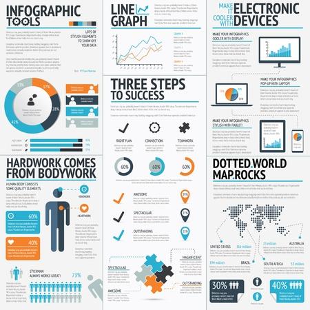 Infografik unsurlar vektör Eps10 büyük bir set