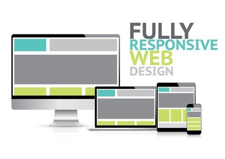 Tamamen duyarlı web tasarım konsepti, elektronik cihazlar Illustration