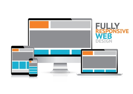 coding: Responsive web design concept in electronic devices  Illustration