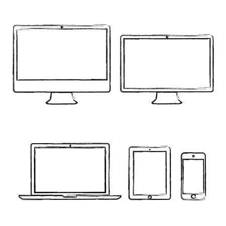 computadora caricatura: Dibujado a mano dispositivos electrónicos ilustración vectorial Vectores