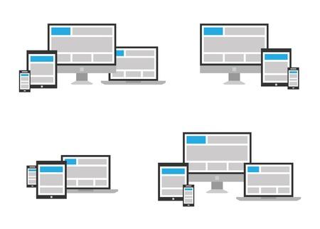 Farklı pozisyonlarda Tamamen duyarlı web tasarım ikonu