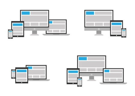 fully: Fully responsive web design icon in different positions