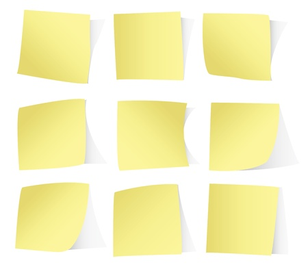 yellow note: Yellow stickers isolated on white background