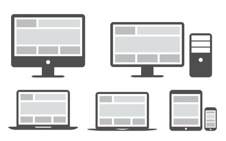 간단한 아이콘 응답 그리드와 웹 디자인 일러스트