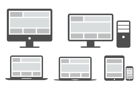 electronic devices: Responsive grid and web design in simplified icons