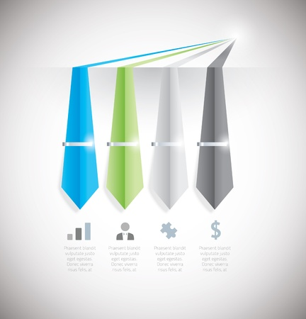 Infographic option element with tie and clip   Vector
