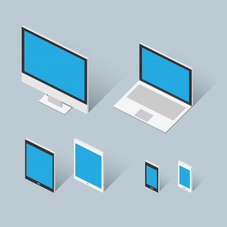 Isometric modern computer set illustration Vector