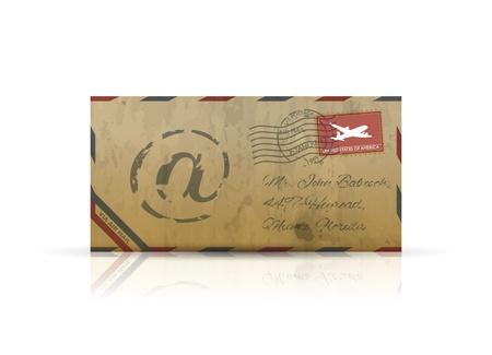 Old vintage airmail envelope  Illustration