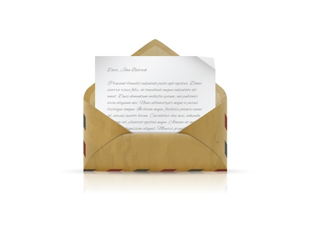 Vintage envelope with paper and text Stock Vector - 21159140