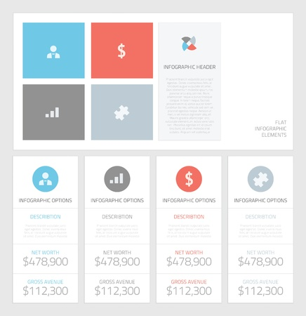 design elements: Minimal info graphic flat business elements vector illustration