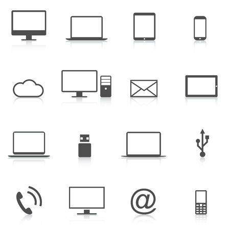 basic: Set of modern computer icons isolation vector