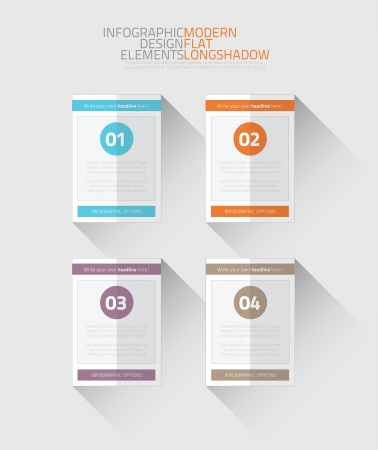 Flat infographic option elements with long shadow vector Stock Vector - 21504506