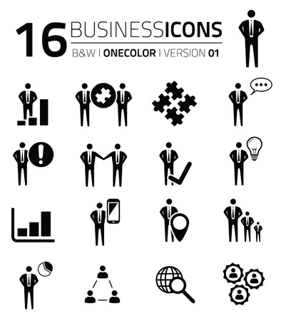 Business icon set isolated on white vector  silhouettes Stock Vector - 21504508