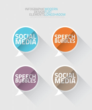 Social media speech bubbles long shadow vector Stock Vector - 21504513