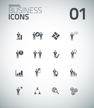 Minimal business icon set vector 01