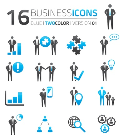 Blue   grey business icon set vector Stock Vector - 21504516