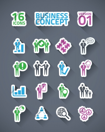 Sticker vector business icon set with long shadows Stock Vector - 21504517