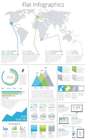 Düz Infographic elemanları vektör Büyük resim