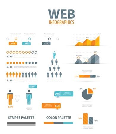 Büyük Infographic vektör çizim web öğesi seti