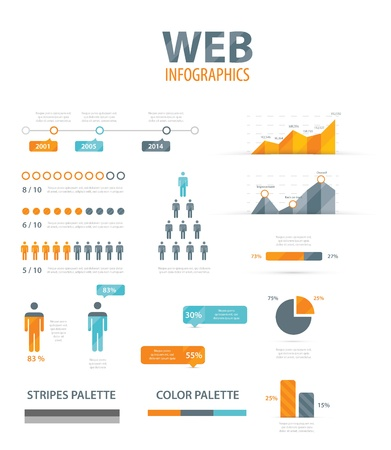 Big infographic vector illustration web element set Illustration