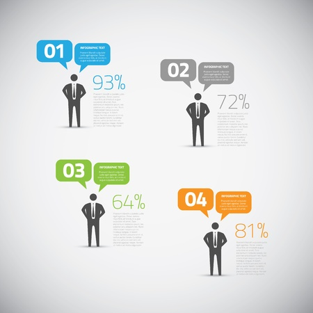 Fresh infographic businessman speech bubble options vector Vector