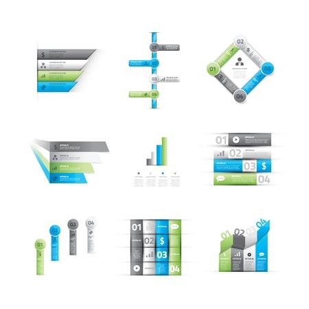 Yeşil ve mavi infografik seçenek elemanlarının büyük bir set