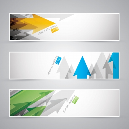 website header: Three abstract infographic business arrow banners