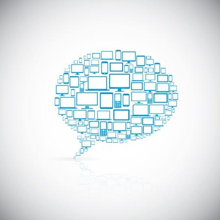 Speech bubble of modern computer icons Stock Vector - 21999515