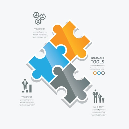 puzzle shadow: Business puzzle pieces infographic option tools