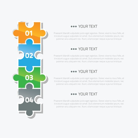 Puzzle piece infographic option and text area Vector