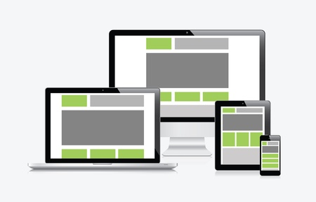 modern palmtop: Modern responsive web design in electronic devices vector eps10