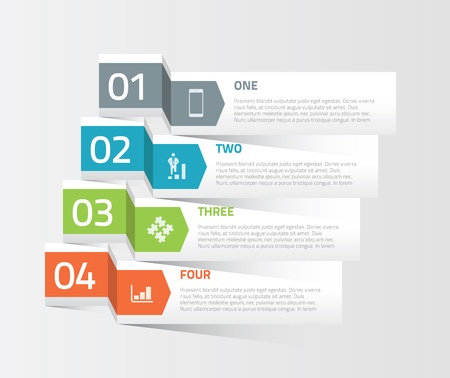 four elements: Four origami paper infographic option elements vector Illustration