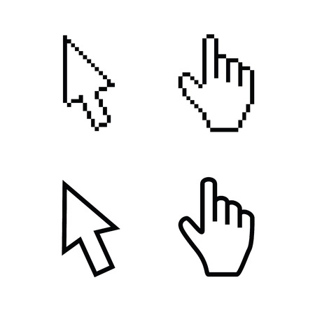 mouse click: Hand and arrow cursors, smooth and pixel vectors