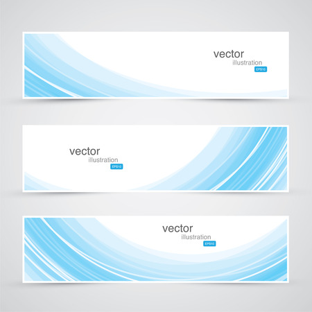Three blue abstract waves background banner vector