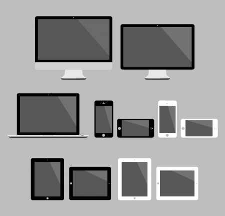 Big set of flat modern electronic devices vector illustration Stock Vector - 23123917