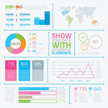 Düz stil vektör Eps10 Modern infografik elemanları Illustration