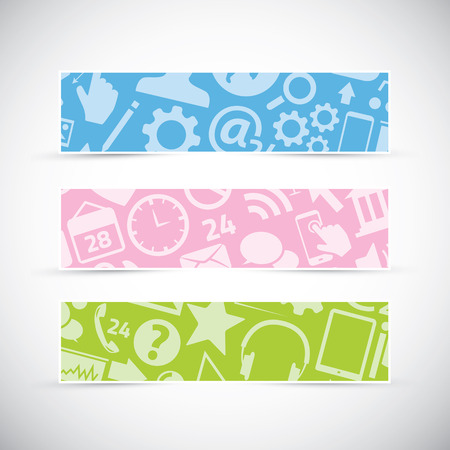 Three icon texture web banners headers vector