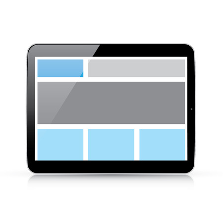 Web coding concept - responsive html and css web design in horizontal tablet Vector