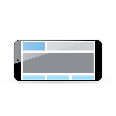 Web coding concept - responsive html and css web design in horizontal smart phone  Vector