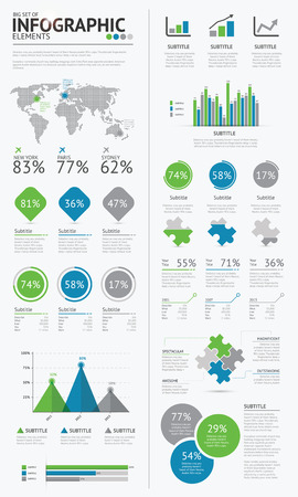 大きなインフォ グラフィック ビジネス要素青と緑のベクトル EPS10 の設定します。