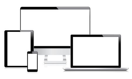 現代のコンピューター、ラップトップ、タブレット、スマート フォンのベクトル
