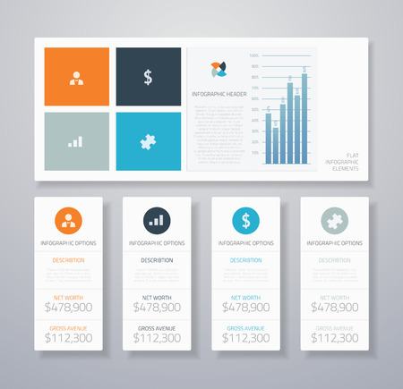 Minimal infographic flat business ui elements vector illustration Vector