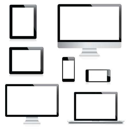 Modern bilgisayar, dizüstü bilgisayar, tablet ve akıllı telefon vektörleri