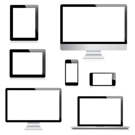 Modern computer, laptop, tablet and smartphone vectors Vector