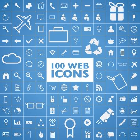 100 web, internet, ofis, bilgisayar ve seyahat simgeler kümesi