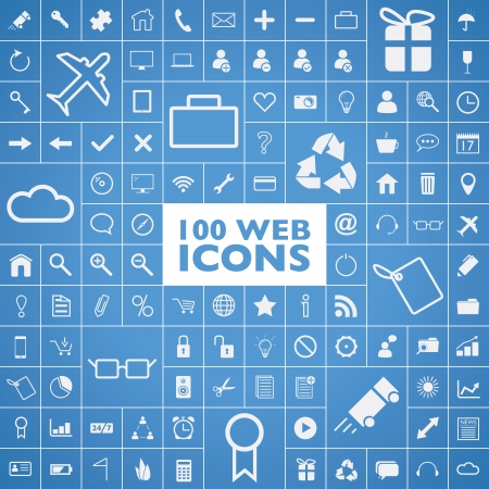 Set of 100 web, internet, office, computer and travel icons